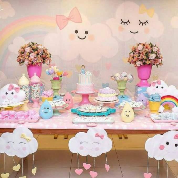 Chá de fraldas ideias simples e barato de decoraç u00e3o Gravidez e Filhos -> Decoração Cha De Fralda Chuva De Amor Simples